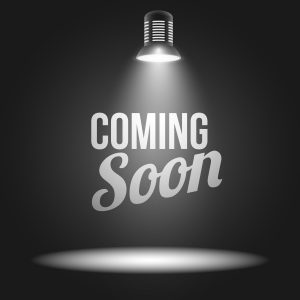 Coming soon message illuminated with light projector blank stage realistic vector illustration
